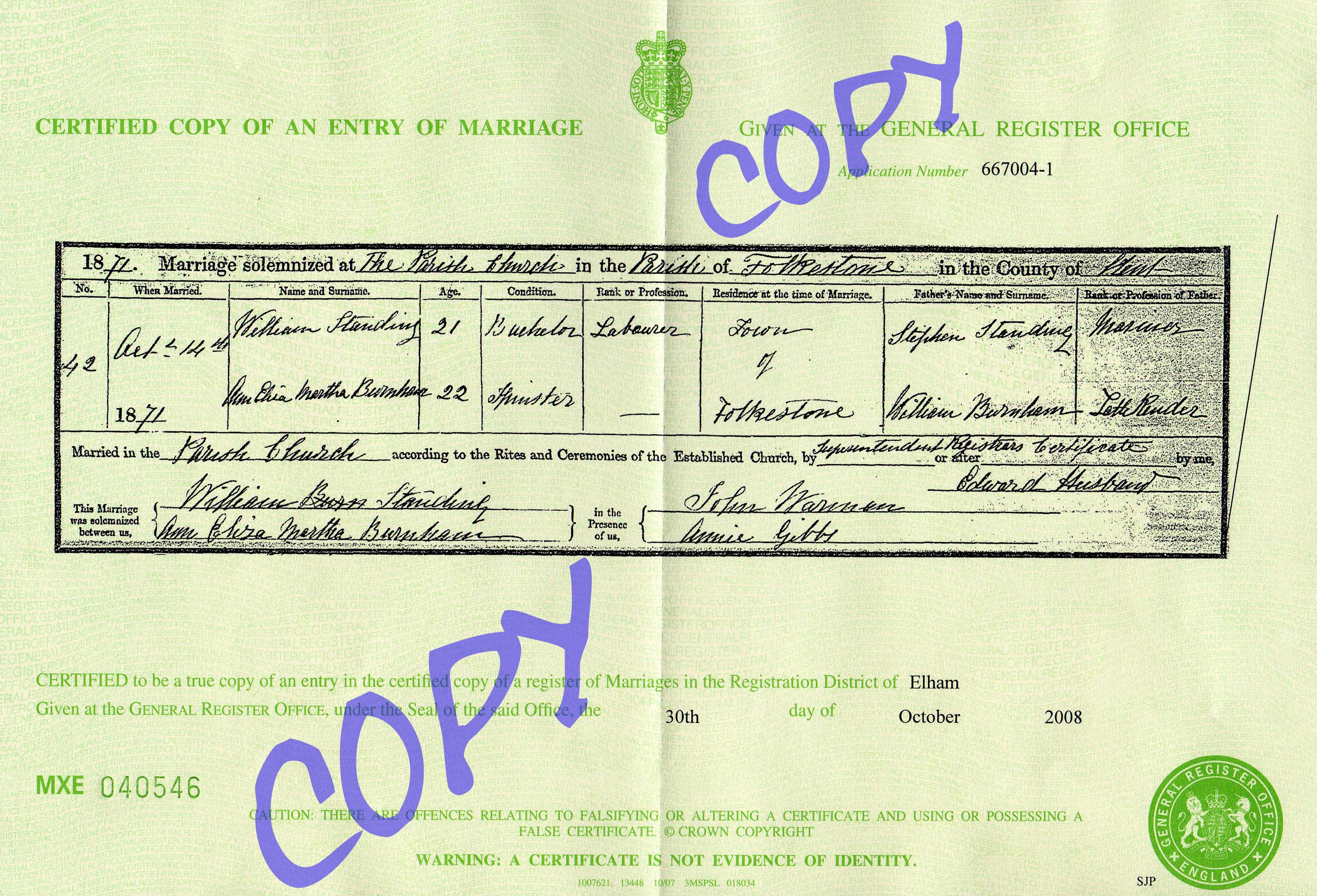 William Stephen Standing and Adeliza Burnham - marriage certificate